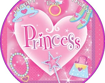 Princess Personalised 7.5 Icing/Rice Paper Cake Topper