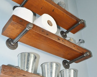 Stained Single Reclaimed Barn Wood Shelf