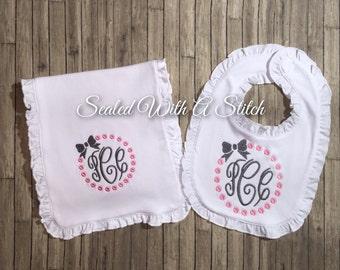 Baby Girl Bib and Burp Cloth