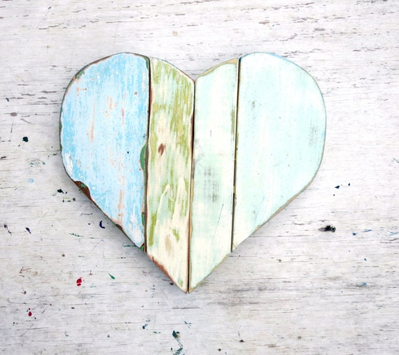 Mosaic heart wood wall art boho heart nursery by woodwallcross for Wooden heart wall decor