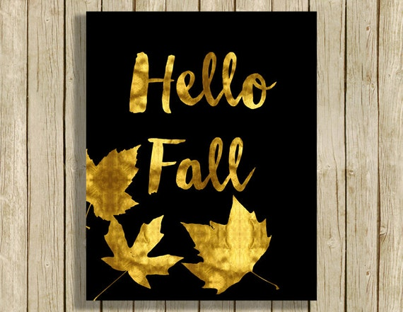 Hello Fall Printable Wall Art Gold And Black Home Decor