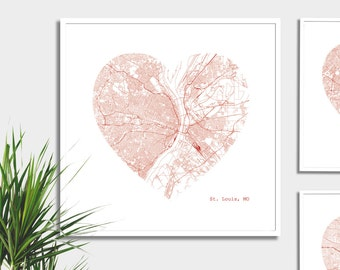 St. Louis Missouri City Heart Map - Art Print