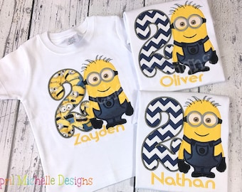Boys Minion Birthday Shirt, Birthday Personalized Minion, Boys Appliqued Shirt, Two Eye Minion, Boys Birthday Shirt, Boy Evil One