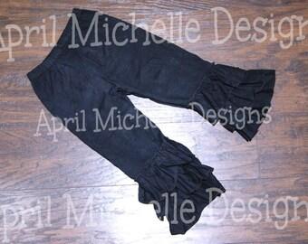 Black Ruffle Pants, Ready to Ship, Triple Ruffle Pants, Knit Ruffle Pants