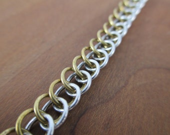 Persian Chainmaille Chain Bracelet Brass and Bright Aluminum, Chainmail Bracelet, Chainmail Jewelry