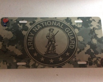 National Guard Sublimation License Plate Tag, Camo