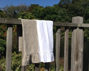 "Ruffled Linen Kitchen Towel  20"" x 27.5"""