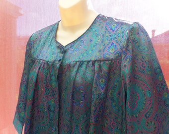 Vintage / Retro GIVONI Blue Paisley House Coat, Small.