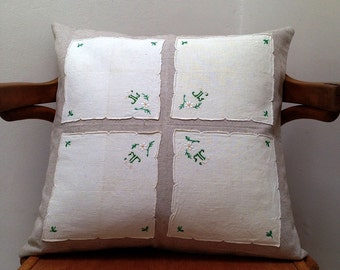 French embroidered pillow case,  with vintage embroided teatowel, made in France, shabby chic style, pillow 20 x 20 inch
