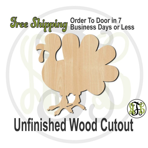 Turkey 1- 170004- Thanksgiving Cutout, unfinished, wood cutout, wood craft, laser cut shape, wood cut out, Door Hanger, wooden, wall art