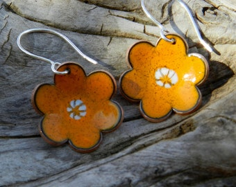 Handmade Unique Fun Copper Enameled Earrings