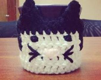 Crochet Tuxedo Cat Coffee Cozy