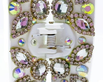 New White With Gold & Iridescent Rhinestone 2 1/2'' Width Hair Claw Clip