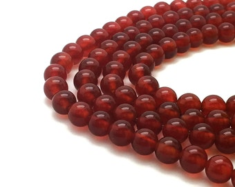 Round Natural Red Agate Beads Strand 4∼10mm Red Agate Strand Genuine Agate Strand Red Beads Strand Mala Strand Red Mala