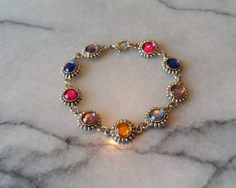 Vintage Antiqued Silver with Colorful Cabs Bracelet