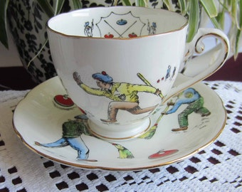 Royal Grafton by A.B.Jones A Curling Cup with Classic Curling Scenes Bone China Cup and Saucer