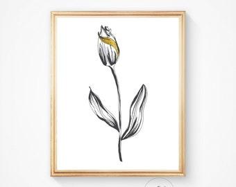 Black and white art, Black white print, Instant download, Modern art, Wall art prints, Wall decor, Black and white, Tulip print Flower print
