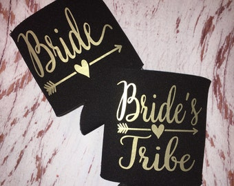 Gold Bride Tribe Can Coolers / bachelorette favors / bachelorette party /monogrammed / bride tribe / bride tribe can holder