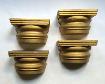 4 Piece Gold Painted Styrofoam / Polystyrene Architectural Column Capital / Capital Styrofoam Prop / Greek Column Capital / Gold Wall Decor