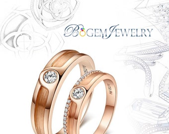Brilliant 14K Rose Gold Diamonds Couple Ring for Love 0.12ct for Man 0.09ct for Women Couple Wedding Ring(ND0818-001)