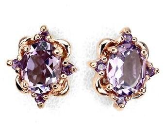 Victorian Edwardian Downton Abbey Jewelry 14k Rose Gold Vermeil Ornate Amethyst Earrings - Truly Venusian