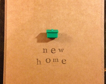 New Home Card. Handmade. Monopoly House