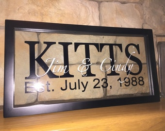 Name frame. Tell me what you want it to say. 8x16 double glass floating frame