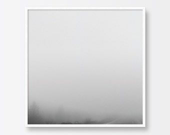 Photography Art Print, Minimalist Photography, Black and White, Misty, Foggy Road, Landscape Photography, Contemporary Printable Art,
