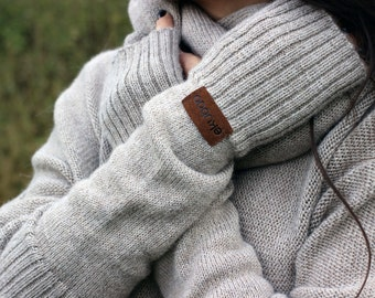Alpaca knitted fingerless mittens for women, beige knit fingerless gloves, long wool arm warmers, fingerless mitts