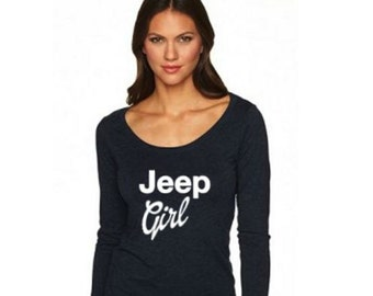 Jeep Girl Women's Tri-blend Long Sleeve Scoop T-Shirt