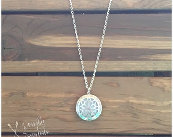 Essential Oil Diffuser Necklace, 32mm Silver