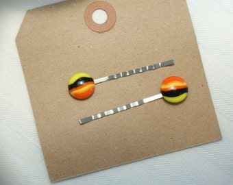 Fused Glass Bobby Pins for Fall & Halloween