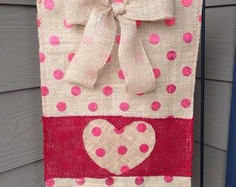 Valentine's Day Burlap Garden Flag with Heart, Red Winter Burlap Garden Flag with Heart, Valentine Garden Flag