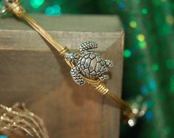 Pewter Silver Turtle Wire Wrapped Bangle