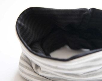 Twin Scarf - Grey Stripes - Neck Warmer - Kids Scarf