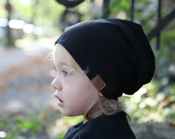 Bambeanie - Jet Black - Slouchy beanie - Slouchy hat - Bamboo hat - Kids hat