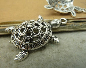 10 Large Turtle Charms Antique Silver Tone - DYS5278