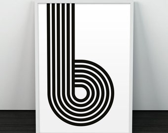 Minimalist print, Black and white, Monochrome art, Minimalism, Art print, Black shapes, B print, Letter poster, Office decor, Midcentury