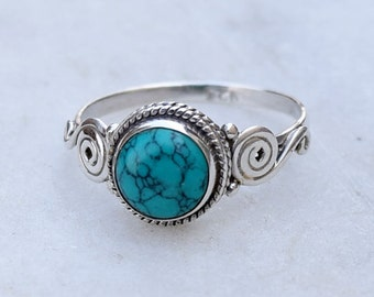 Turquoise Ring 925 Solid Sterling Silver Turquoise Stone Gemstone Ring, Gift Silver Ring Size US 4 5 6 7 8 9 10 11 12