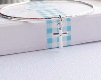 Sterling Silver Stacking Bangle with a Cross Charm - Choose Size and Thickness