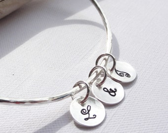 Sterling Silver Stacking Bangle with 3 Initial Discs - Choose Size and Thickness