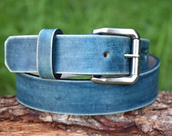 Cristopher Handmade Full Grain Jeans Blue Leather Belt fitted with Antique Nickel Roller Buckle