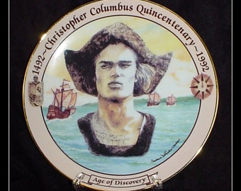 Porcelain Commemorative Plate Christopher Columbus 1992 First Edition