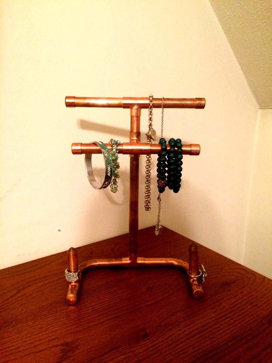 Steampunk copper pipe jewelry stand or jewelry display for Copper pipe jewelry stand