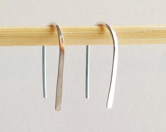 """Pair 3/4"""" Sterling Silver Open Hoop Earrings, Lightweight Modern Minimalist Design, Simple Silver Hoops, Sleek Delicate Elegant Silver Hoops"""