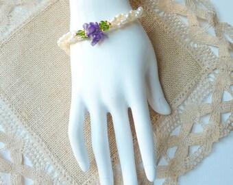 SALE, Vintage White Fresh Water Pearl Bracelet Rice Bubble Pearl Bracelet, Gold  Pearl Bracelet,Pearl Jewelry, Retro Jewelry, Retro Vintage