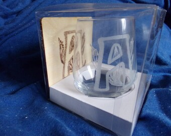 Initial Glass and Coaster Set