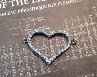 sterling silver cubic zirconia heart connector 1pc