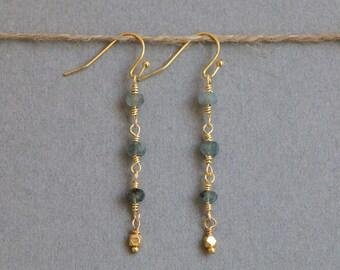 Aquamarine Earrings Moss Aquamarine March Birthstone Gemstone Earrings