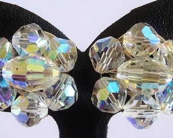 Vintage Clip Earrings, Aurora Borealis, Crystal Rosette, Round Flower, Egg Shaped Centre Crystal, Wired 1950's-60's, Rainbow Colours